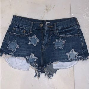 blue jean shorts with stars